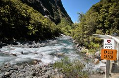 Mountain stream at the Milford Road Stock Image