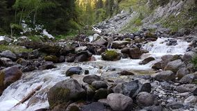 Mountain stream. Mountain stream in the mountains in the spring Stock Photos