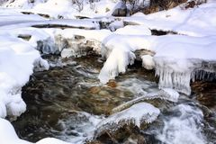 Mountain stream. Mountain stream among rocks and snow in winter Royalty Free Stock Photography