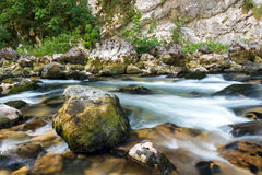 Mountain Stream. In the mountains of Abkhazia. The flow of water in a mountain river Yupshara Royalty Free Stock Photos