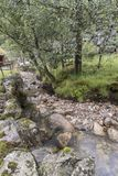 Mountain stream near the Magma Geo Park outside Stavanger Norway. NnThere had been a long period of dry weather until the day we travelled to the magma park and royalty free stock photo