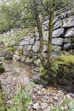 Mountain stream near the Magma Geo Park outside Stavanger Norway. There had been a long period of dry weather until the day we travelled to the magma park and royalty free stock photography