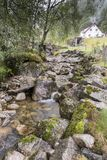 Mountain stream near the Magma Geo Park outside Stavanger Norway. There had been a long period of dry weather until the day we travelled to the magma park and stock photography