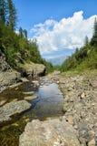 Mountain stream on the Putorana plateau. Royalty Free Stock Photo