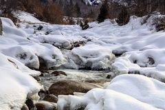 Mountain stream. Mountain stream among rocks and snow in winter Stock Images