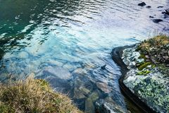 Mountain stream in the rocks. On a summer day stock images