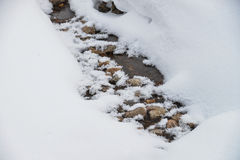Mountain stream running covered by snow in winter with some stones in water Royalty Free Stock Photos