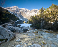 A mountain stream scenery. A mountain stream beautiful scenery in the winter Royalty Free Stock Image