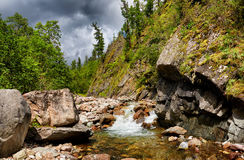 Mountain stream in small rock Royalty Free Stock Photography