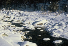 Mountain stream with snow in Engadin, Switzerland Royalty Free Stock Photos