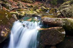 Mountain stream in the spring in the Giant Mountains Stock Photos