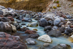 Mountain stream stones. Mountain stream by an autumn surrounded by stones and rocks Royalty Free Stock Images
