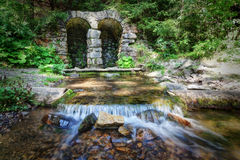 Mountain stream from under the ancient wall. Stock Image