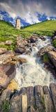 Mountain stream in the village Adishi Stock Image