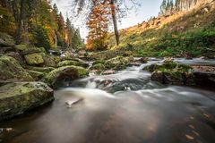 Mountain stream with waterfall in an autumn forest. Stock Images