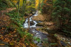 Mountain stream with waterfall. In an autumn forest. time exposure Stock Photo