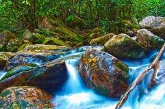 Mountain streams. Nice mountain stream with green stones Royalty Free Stock Photo