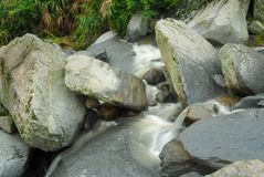 Mountain Streams. Mountain stream, gurgling water in different poses and with different expressions.Small waterfall Royalty Free Stock Photos