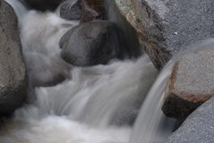 Mountain Streams. Mountain stream, gurgling water in different poses and with different expressions.Small waterfall Royalty Free Stock Photography