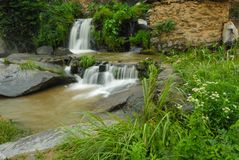 Mountain Streams. Mountain stream, gurgling water in different poses and with different expressions.Small waterfall Stock Photography