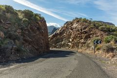 Mountain street or road with curve. In Gran Canaria Royalty Free Stock Photography