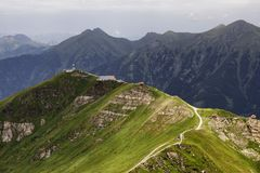 Mountain Stubnerkogel in Austria. Beautiful scenic view on top station of ski lift in Bad Gastein on Mt.Stubnerkogel in Austria Stock Image