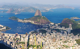 The mountain Sugar Loaf and Botafogo in Rio de Janeiro Royalty Free Stock Photos