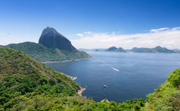 The mountain Sugar Loaf and Guanabara bay in Rio de Janeiro Stock Photography
