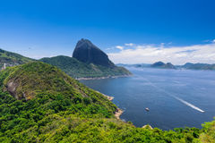 The mountain Sugar Loaf and Guanabara bay in Rio de Janeiro Stock Images