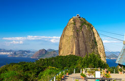 The mountain Sugar Loaf and Guanabara bay in Rio de Janeiro Royalty Free Stock Images