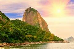 The mountain Sugar Loaf and Guanabara bay in Rio de Janeiro Royalty Free Stock Photo