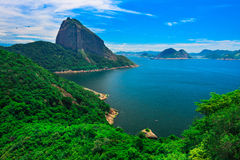 Mountain Sugar Loaf and Guanabara bay in Rio de Janeiro Royalty Free Stock Photos