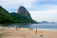 Mountain Sugar Loaf and Red beach in Rio de Janeiro Royalty Free Stock Photos