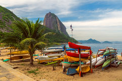 Mountain Sugar Loaf and Red beach in Rio de Janeiro Royalty Free Stock Image