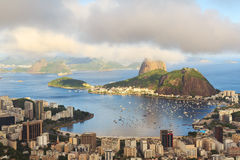 Mountain Sugarloaf in clouds Guanabara bay, Rio de Janeiro Royalty Free Stock Photography