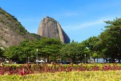 Mountain Sugarloaf with view of square General Tiburcio. Rio de Janeiro, Brazil royalty free stock photo