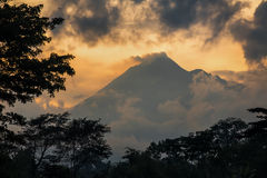Mountain Sumbing volcano, Java, Indonesia Royalty Free Stock Images