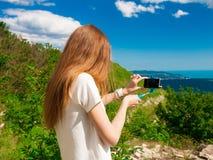 Mountain summer. Back, smartphone stock image