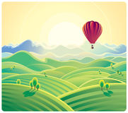 Mountain summer landscape and balloon. Stock Images
