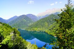Mountain summer landscape with blue lake royalty free stock photos