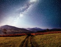 Mountain summer landscape. High grass and vibrant night sky with stars and nebula and galaxy. Deep sky astrophoto.  royalty free stock images
