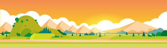 Mountain Summer Landscape Horizontal Banner Royalty Free Stock Photography