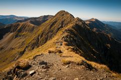 Mountain summit with blue skies Royalty Free Stock Image