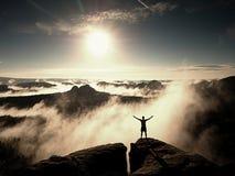 Mountain summit. Happy man gesture raised arms. Royalty Free Stock Photos