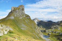Mountain summit and lake Casterau in the Atlantic Pyrenees Royalty Free Stock Image