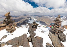 Mountain summit ridge,  Cordillera Real, Bolivia. Summit snow mountains peaks ridge cliffs, Austria peak Cordillera Real, Bolivia travel destination scenics Royalty Free Stock Photography