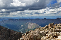 Mountain Summit View. View from the summit of Mount of the Holy Cross showing most of the Elk Range on the horizon Royalty Free Stock Photo