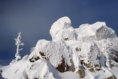 Mountain summit in winter. At Urals, Russia Royalty Free Stock Images
