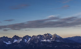 Mountain summits. Moutain summits of Wilder Kaiser mountain are pictured on an aerial view Stock Image