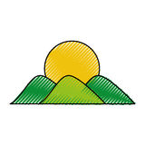 Mountain with sun drawing Stock Image